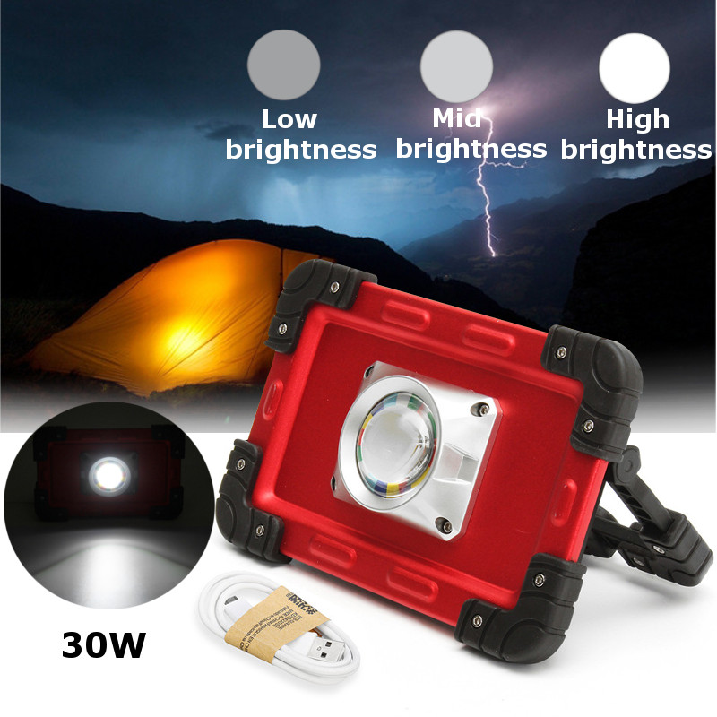 30W USB COB 69 LED Floodlight Portable Rechargeable Battery Flood Light Spot Work Camping Touch Outdoor Lamp 500LM