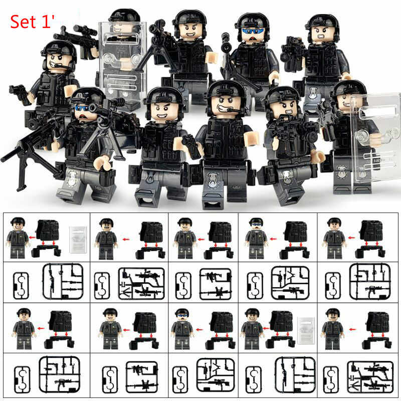 5in1 Militar Figuras Blocos de Construção Compatível Legoings Cidade SWAT Soldados Das Forças Especiais Da Polícia Armada WW2 Armas Armas Brinquedos