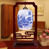 New Table Lamp Chinese Ceramics Desk Light Bedroom Bedside Study LED Decorative Table Ighting Living Room