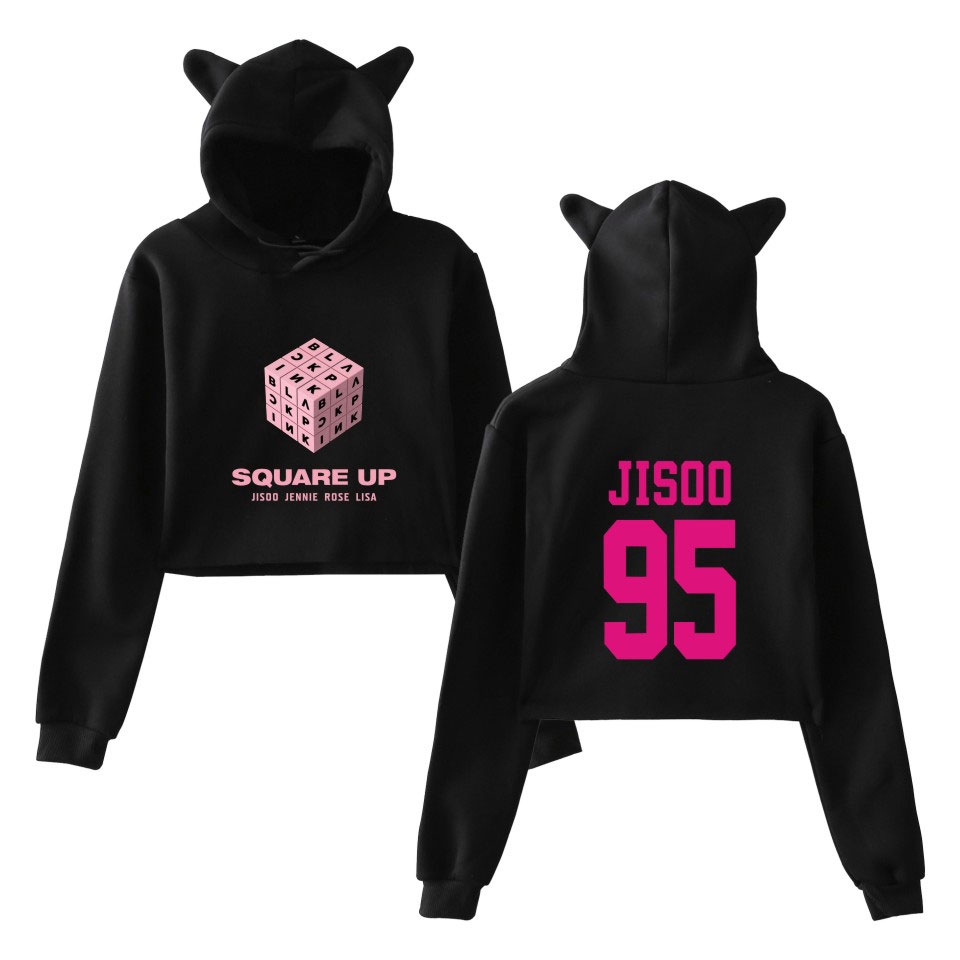 BLACKPINK <font><b>Girls</b></font> <font><b>Hot</b></font> Cat Ears Cap Short <font><b>Sexy</b></font> Hoodies Ladies Women <font><b>Sexy</b></font> Exposed Navel K-Pop Hip Hop Pullover Sweatshirt XXS To <font><b>XXL</b></font> image