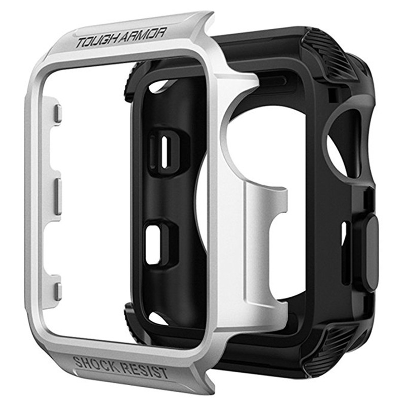 ASHEI Watch Accessories Case For Apple Watch Series 3 2 1 42mm 38mm Tough Armor Screen Protector For IWatch PC Two In One Shell