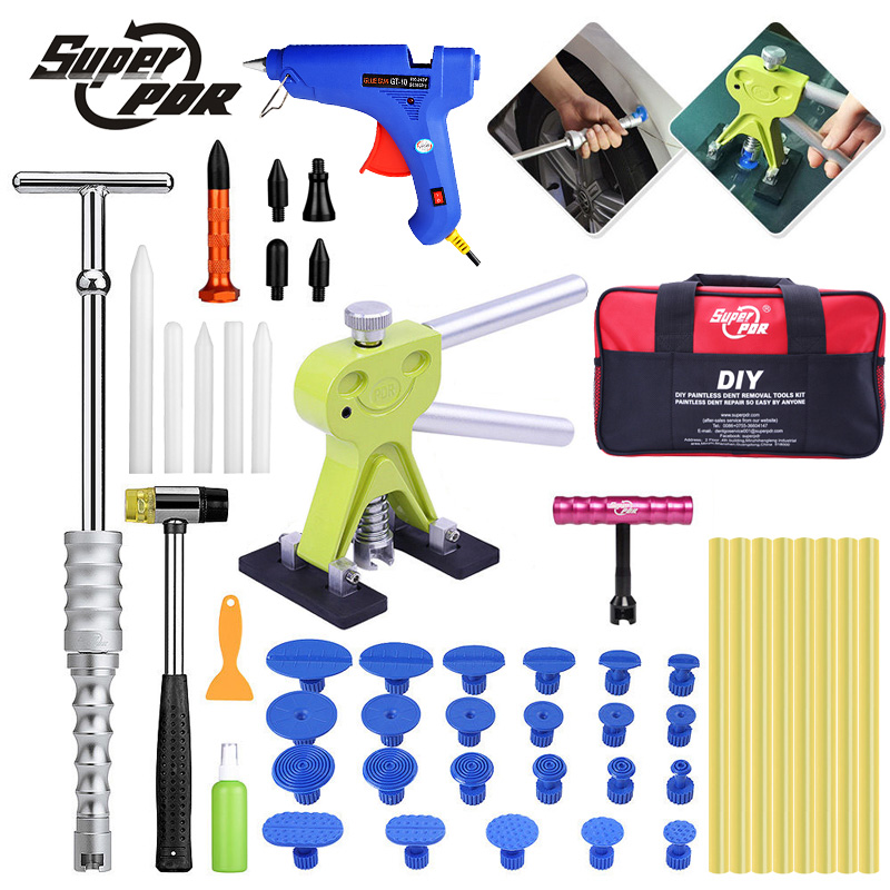 Super pdr dent repair tools kit Paintless dent removal tool set dent lifter glue puller glue gun tools bag pdr tool auto paintless dent removal kits pdr tools dent repair tools rubber hammer golden dent lifter glue gun glue sticks