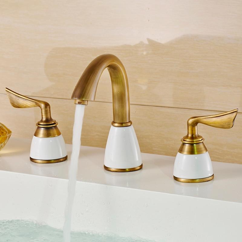 Double handle basin faucet mixer tap white ceramic Antique 3pcs set antique brass faucet bathroom sink tap basin mixer vintage antique brass bathroom faucet basin sink spray single handle mixer tap s 861 mixer tap faucet