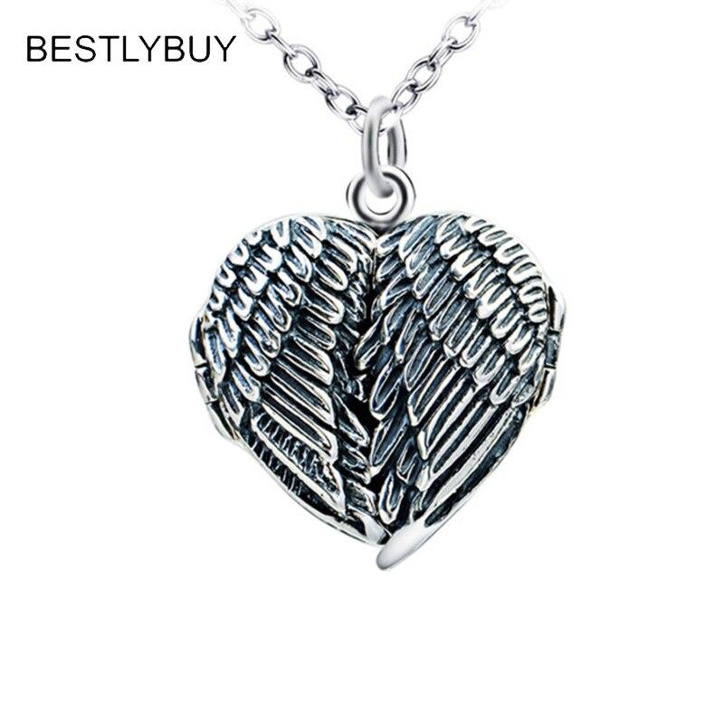 BESTLYBUY collier pendentif ailes en forme de cœur en argent Sterling 925 véritable pour hommes femmes cadeau livraison gratuite