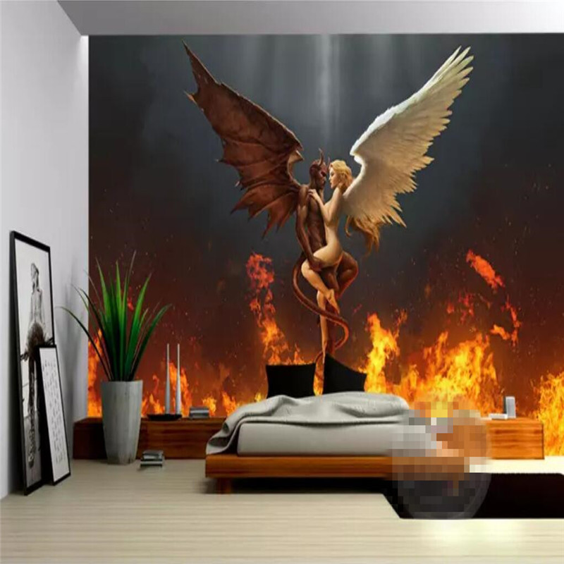 Modern Angel and Devil Love Hotel Couple Hostel Sexy Professional Make Mural Wholesale Wallpaper Custom Photo Wall in Fabric Textile Wallcoverings from Home Improvement