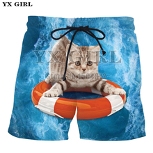 YX Girl Mens Hawaii Beach Shorts Cute Pizza Cat/Lightning Cat 3d Printed for Men/Women Casual Summer Short