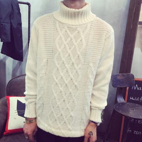 European Brand Autumn Style Mens Cable Knit Turtleneck Pullover And