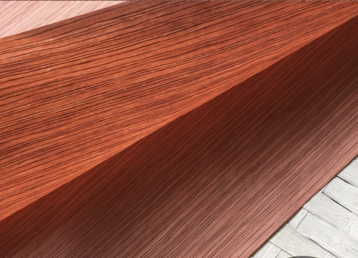 2Pieces/Lot  L: 2.5Meters  Thickness:0.25mm  Width: 55cm  Technology Rose Straight Grain Wood Veneer (back  non woven fabric)