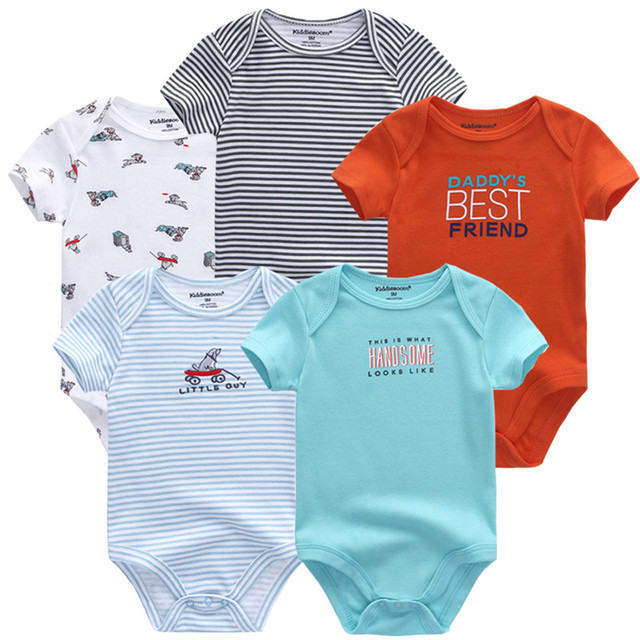 Newborn baby boy clothes girls clothes summer fashion printing infant baby onesies 5 piece set jumpsuit 100% cotton tights