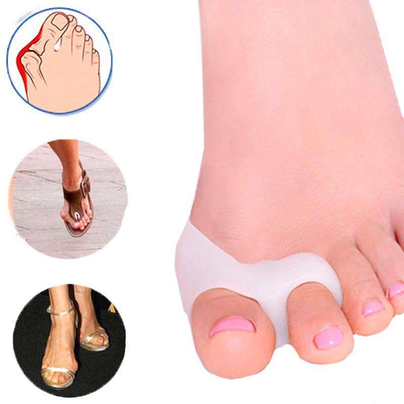1Pair-Silicone-Gel-foot-fingers-Two-Hole-Toe-Separator-Thumb-Valgus-Protector-Bunion-adjuster-Hallux-Valgus