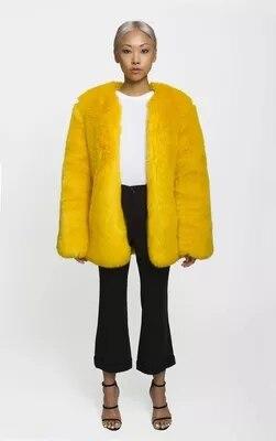 Sag Jaune Style 78 Manteau or Mode Fourrure Gamme Nouveau camel Fausse En Femmes Haut De Pf5q7rfw