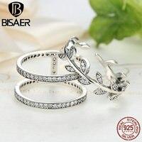 Bisaer 100% 925 فضة شجرة الحياة كوكتيل خواتم الاصبع للنساء أنثى مجوهرات هدية الخطوبة GXR009