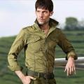 2017 de la moda masculina de herramientas de manga larga suelta militar camisa masculina más tamaño camisa floja ocasional masculina tendencia del ejército