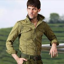 2017 mode männlichen werkzeugausstattungkurzschlüsse langhülse military losen hemd männlich plus größe beiläufige lose hemd männlich armee trend