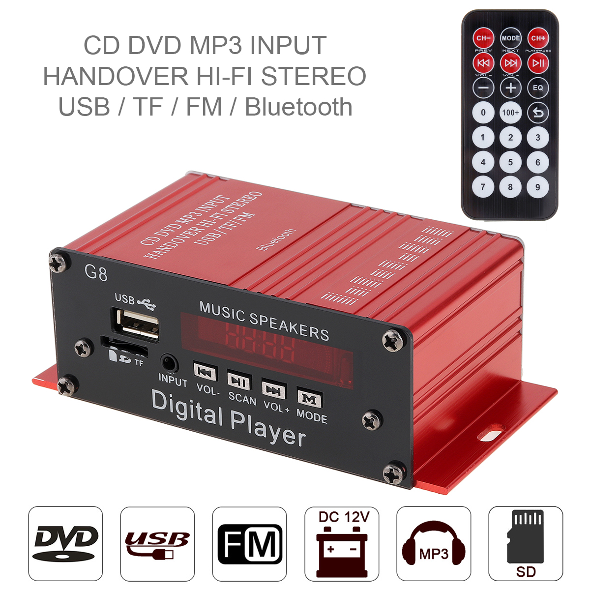 G8 2CH Bluetooth Car Audio Power Amplifier FM Radio Player SD USB DVD MP3  with Remote Controller for Motorcycle Home