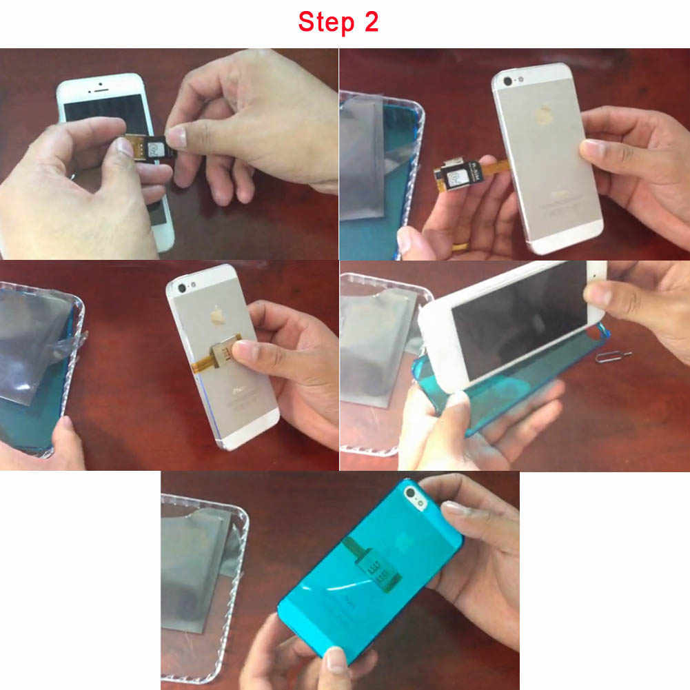 Teléfono Móvil Doble tarjeta SIM dual caso adaptador utiliza dos SIM para iphone 4 4s 5