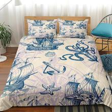 Pulpo brújula funda nórdica reina velero Set de cama para niño rey estrella de mar funda de edredón 100% de microfibra Vintage colchas