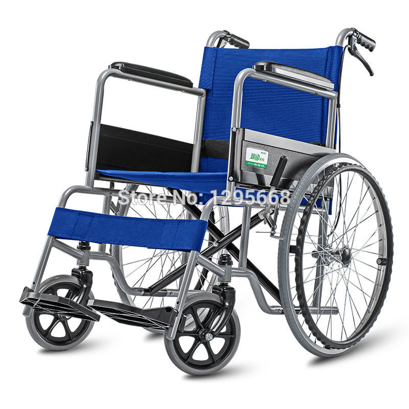 все цены на Cofoe Blue Aluminum Alloy Wheelchair lightweight folding Self Propelled wheelchair BLUE with brake онлайн