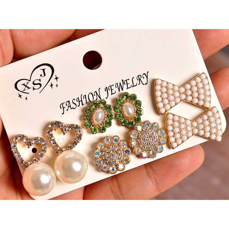 New fashion women jewelry wholesale girls birthday party bow pearl stud mix-and-match gorgeous 6 pairs /set earrings gift