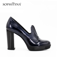 SOPHITINA 10cm High Heel Thick Heels Pleated Patent Leather Mary Janes Pumps Dark Blue Brown Round