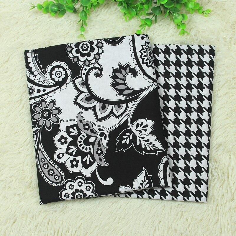 Clásico blanco y negro flor de Algodón VB Tela Patchwork Tejido Tecido Para DIY