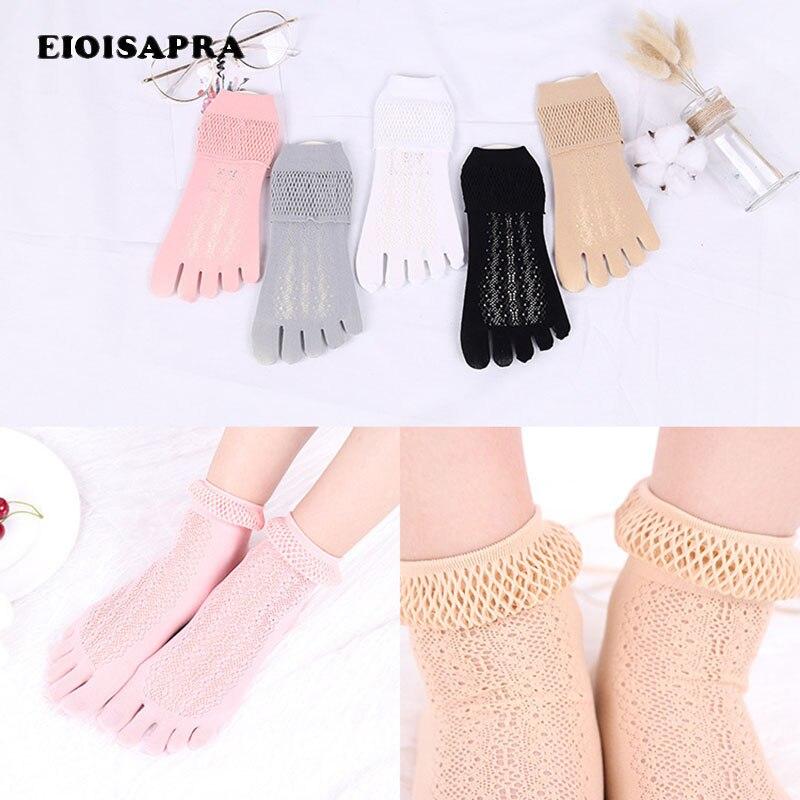 Fünf Finger Mesh Atmungs Aushöhlen Harajuku Socken Casual Kreative Japan Baumwolle Socken Frauen Fashion Solid Sokken Entlastung Von Hitze Und Sonnenstich eioisapra GroßZüGig