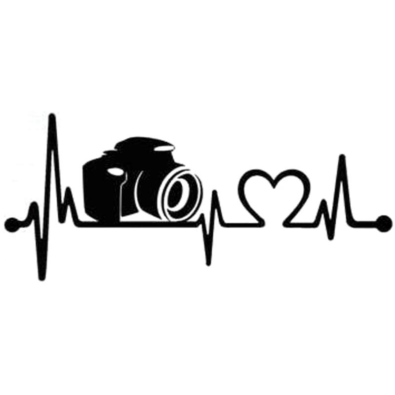 19 1cm 8 3cm Camera Heartbeat Lifeline Vinyl Stickers