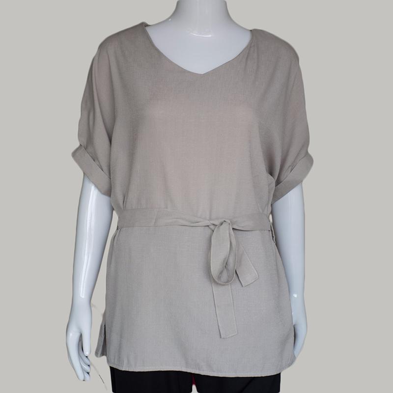 HTB1l4M QpXXXXcOXpXXq6xXFXXXL - Women Shirts Linen Tunic Shirt V Neck Big Bow Batwing Tie