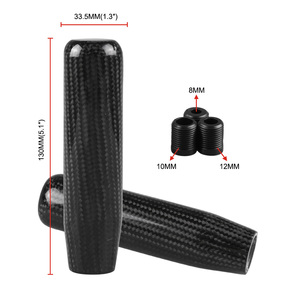 Image 5 - Carbon Fiber Gear Shift Lever Knob Manual Stick Shifter M10*1.5 with Adapter Black for Universal Car