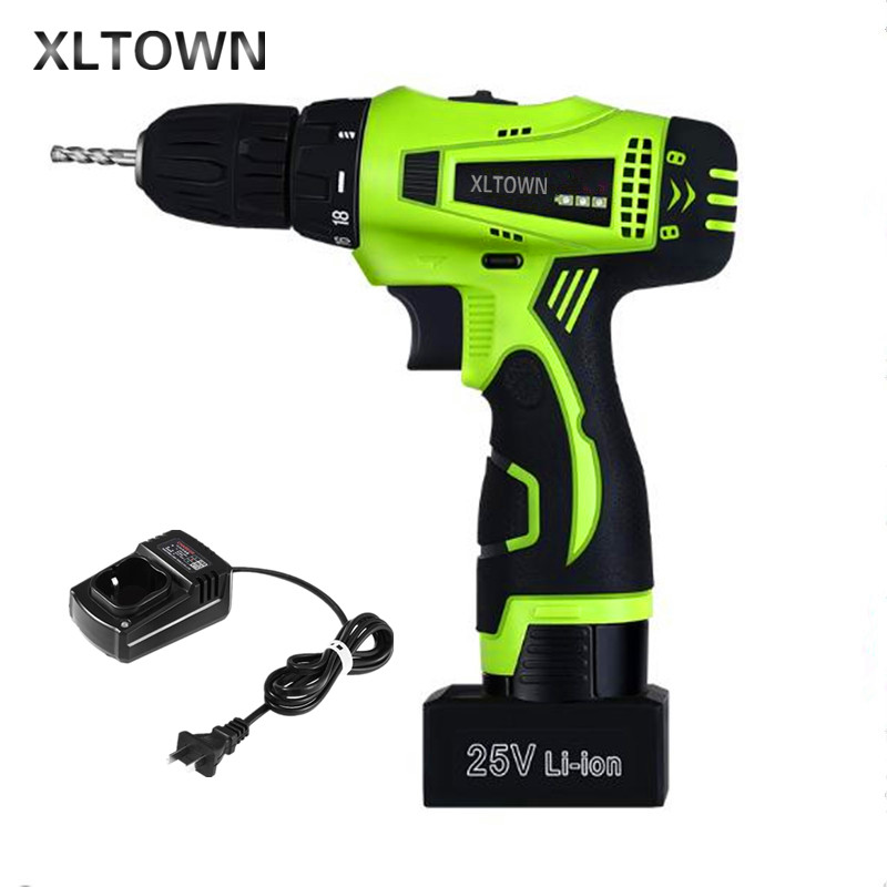 Xltown the new 25v two-speed rechargeable lithium battery electric screwdriver high quality Electric screwdriver power tools free shipping brand proskit upt 32007d frequency modulated electric screwdriver 2 electric screwdriver bit 900 1300rpm tools