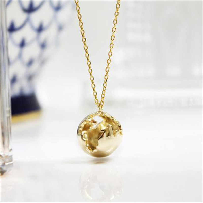 3D Planet Earth Necklace Pendent Men Collares Planet Gold Chains Pendnets For Women Boho Jewelry World Journey Map Choker BFF