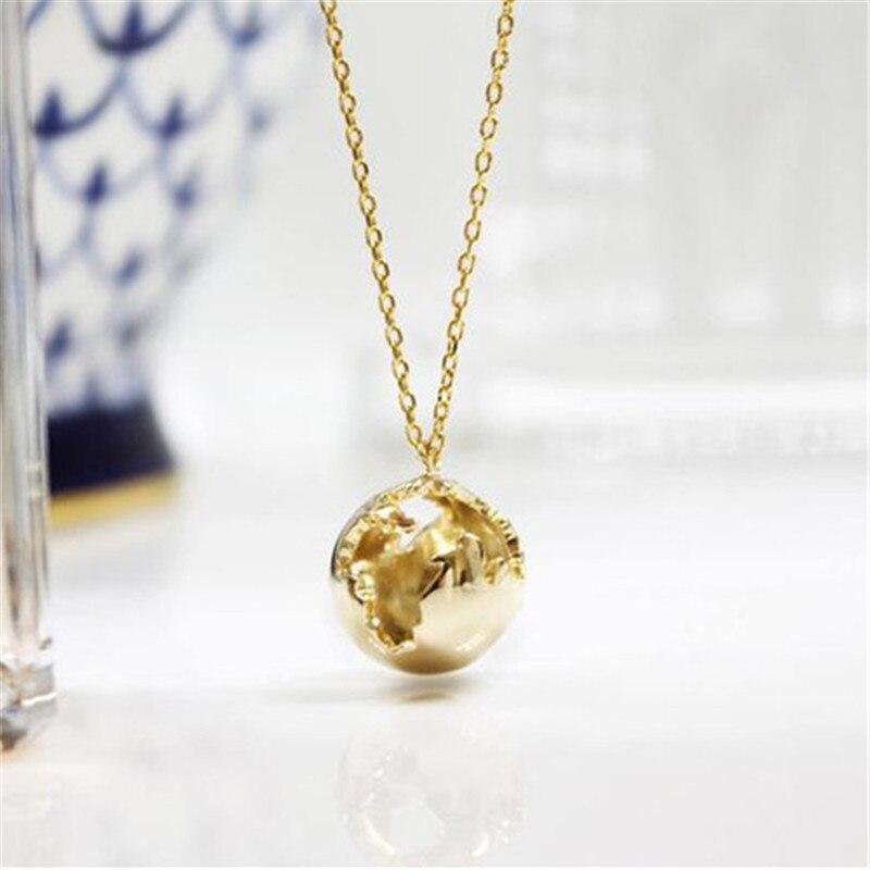 Ожерелье с 3D землей для женщин и мужчин, колье из нержавеющей стали с подвесками мира, планеты, золотистого и серебристого цвета, ювелирное и...