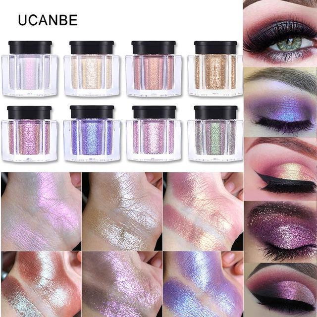 UCANBE marca brillo suelto sombra de ojos maquillaje en polvo pigmento impermeable brillo sombra de ojos 3D desnudo metálico ojos en polvo cosméticos