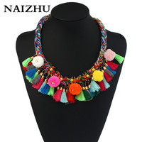 NAIZHU Handmade Weave Bohemian Boho Choker Necklace Women Colorful Pompoms Tassel Maxi Necklaces Femme Bijoux Chockers