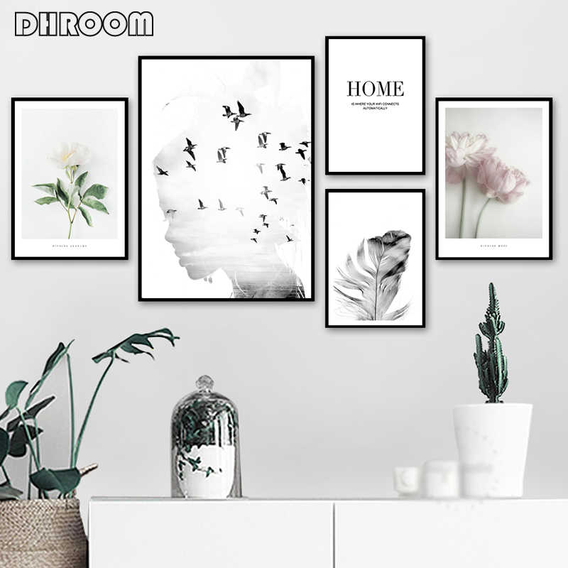 Girl Bird Feather Landscape Wall Art Flower Quotes Canvas Painting Nordic Posters and Prints Wall Pictures for Living Room Decor