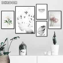 Girl Bird Feather Landscape Wall Art Flower Quotes Canvas Painting Nordic Posters and Prints Wall Pictures for Living Room Decor girl bird feather quotes wall art canvas painting nordic posters and prints black white wall pictures for living room home decor