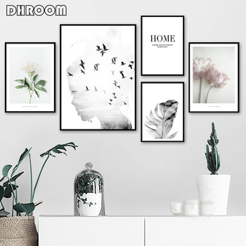 Girl Bird Feather Landscape Wall Art Flower Quotes Canvas Painting Nordic Posters and Prints Wall Pictures for Living Room Decor fashion perfume flower quotes wall art canvas painting nordic posters and prints wall pictures for living room girl salon decor