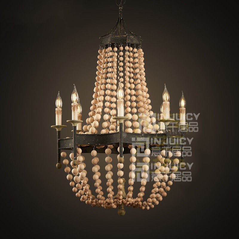 Edison Vintage Retro Nordic Wood Bead Iron Loft Club Light Ceiling Lamp Droplight Fixtures Chandeliers Cafe Hall Home Decor loft edison vintage retro cystal glass black iron light ceiling lamp cafe dining bar hotel club coffe shop store restaurant