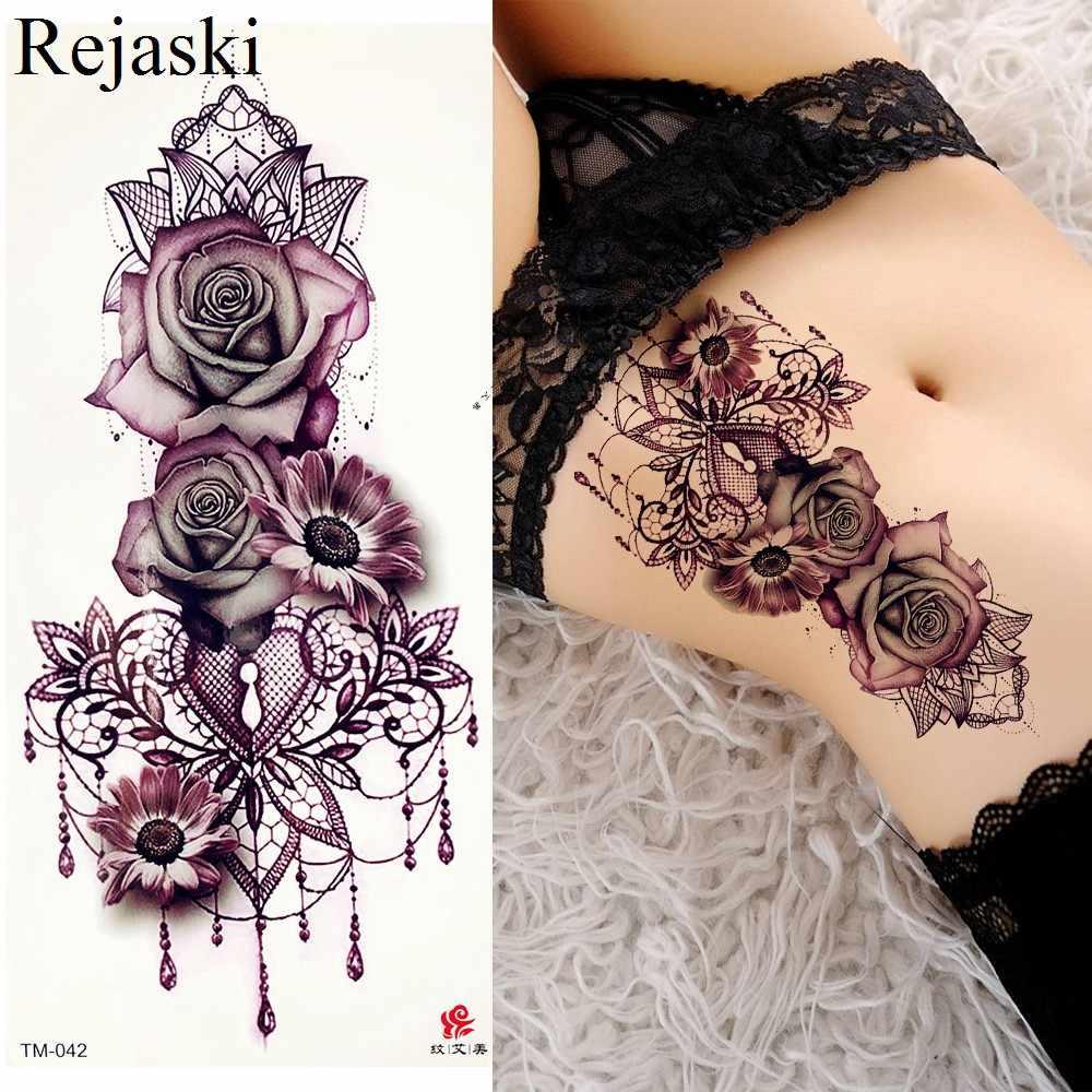 Púrpura Rosa Joyería Agua Transferencia Tatuaje Pegatinas Mujeres Cuerpo Pecho Arte Tatuaje Temporal Chica Cintura Pulsera Flash Tatuaje Flor