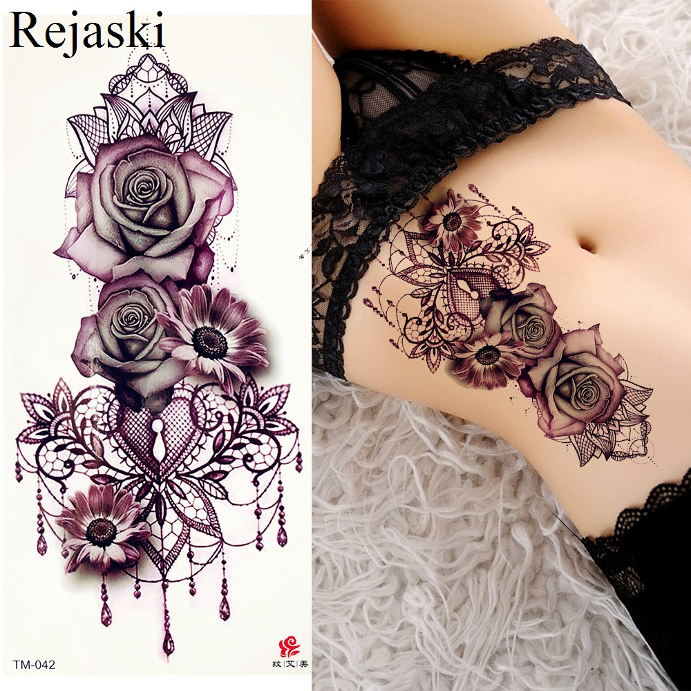 Purple Rose Jewelry Water Transfer Tattoo Stickers Women Body Chest Art Temporary Tattoo Girl Waist Bracelet Flash Tatoos Flower коюз топаз кольцо т902015733