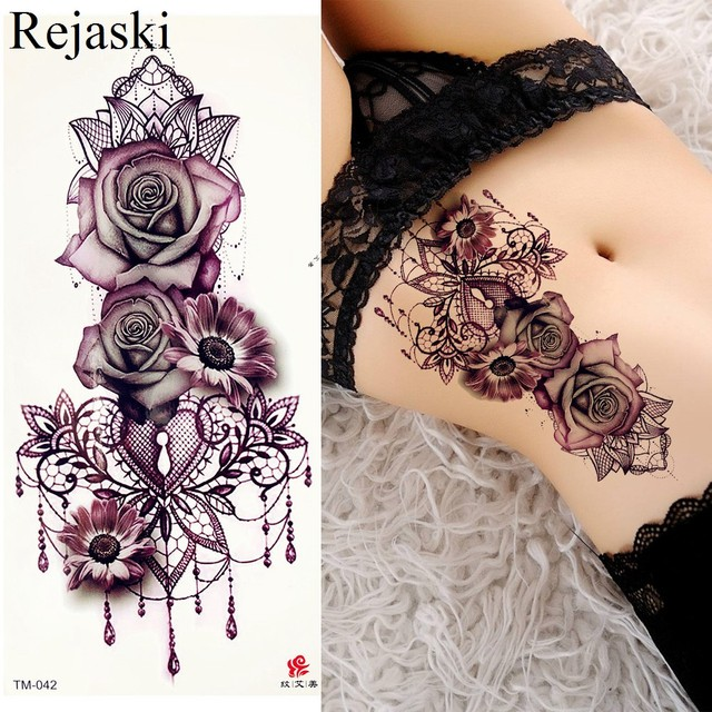 Purple Rose Jewelry Water Transfer Tattoo Stickers Women Body Chest Art Temporary Tattoo Girl Waist Bracelet Flash Tatoos Flower 2
