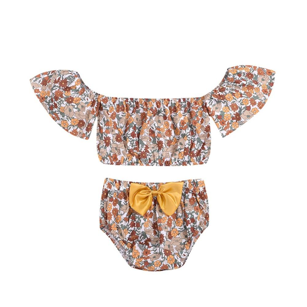 0-24M Summer Baby Girl Casual Short Sleeve Off-shoulder Floral Tops T-shirt With Briefs PP Shorts Outfits Set(China)