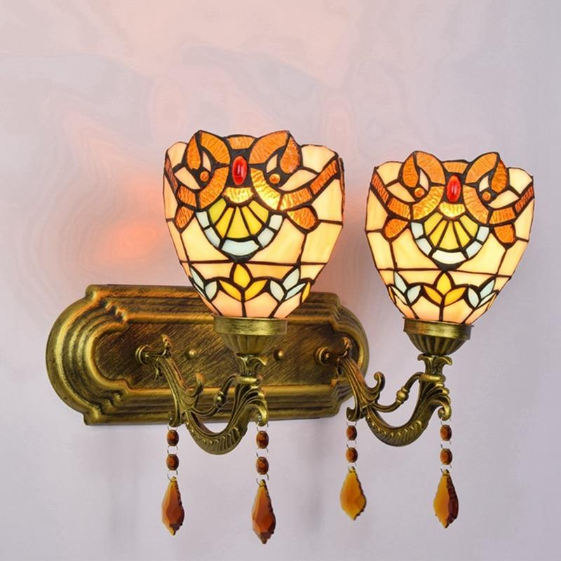 European Baroque Vintage color glass crystal wall lamp Mirror front lighting 110-240V Single double headed Upward Bedside lamp