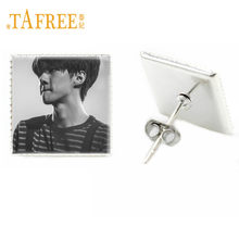 TAFREE KPOP EXO SE HUN Art Photo Stud Earrings DIY New Fashion Pop Signer Earrings Photocard Glass Design SE11(China)