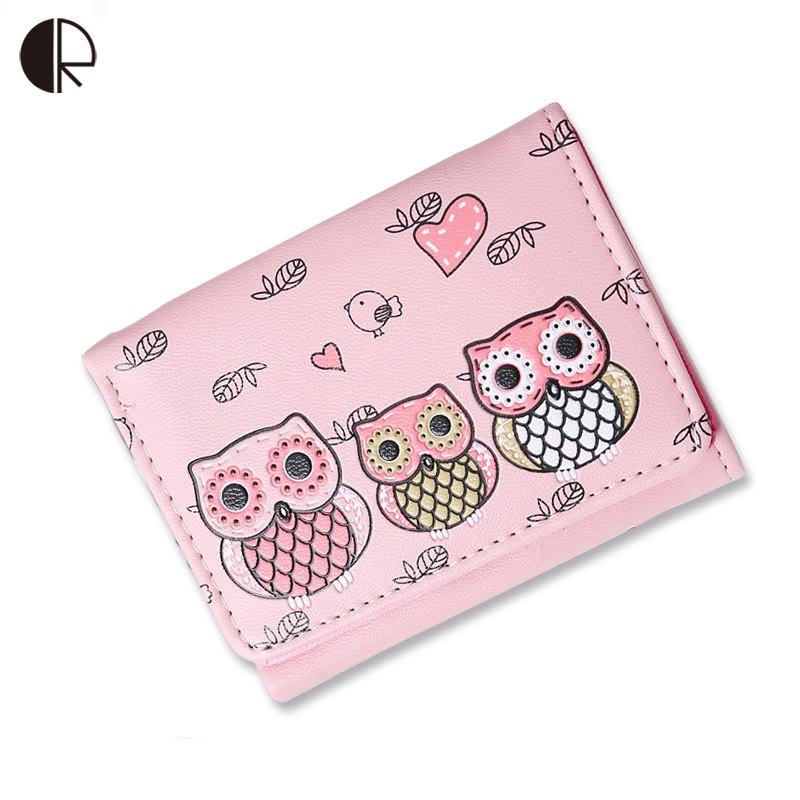 Women Clutch Owl Wallets Cute Short Style PU Leather Pochette Ladies Animal Pattern Purses Girls Coin Purse Carteras