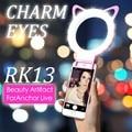 Encanto de la moda ojos clip de oreja de gato anillo de luz led selfie flash selfie light lámpara recargable selife fill-luz para smartphone