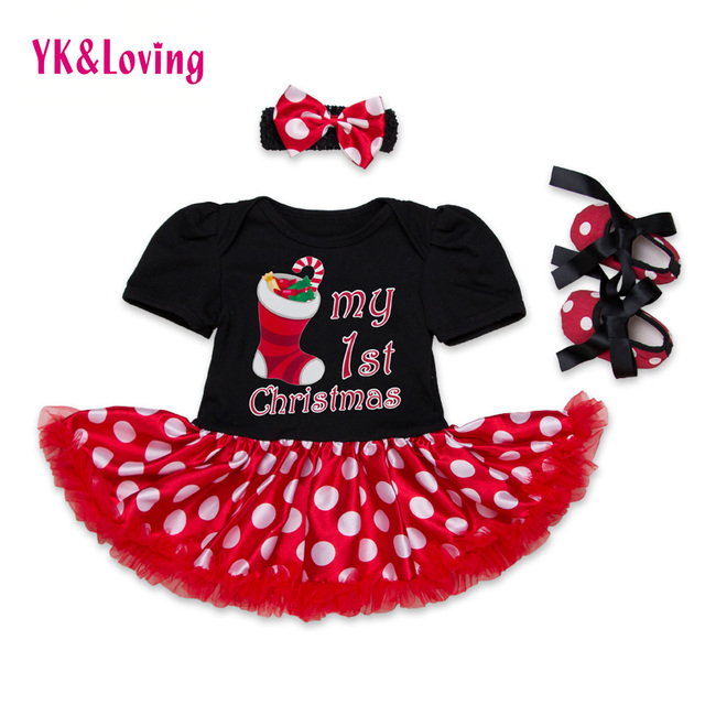 Christmas Baby Dresses for Newborn Girl Short Sleeve Romper Shoes Headband 3pcs  Snowflake Ruffles Dress Baby  Birthday Clothes