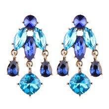 Fashion Women Luxury Crystal Drop Earrings for Women Rhinestone Brincos Dangle Earrings Wedding Party Jewelry for Bridal Gifts