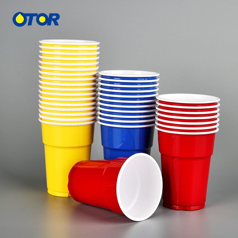 OTOR 120pcs <font><b>Disposable</b></font> Colorful PP <font><b>Cup</b></font> for Party Drink and Birthday Wedding Decoration <font><b>Cups</b></font> for Home Game Party <font><b>Beer</b></font> Pong image