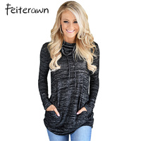 Feiterawn Long Sleeve Hoodies Tops Heather Black Cozy Cowl Neck Drawstring Autumn Winter Female Sweatshirt For